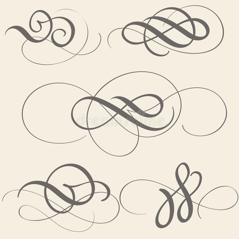 Ensemble d'art de flourish de calligraphie avec les spirales décoratives de vintage pour la conception sur le fond beige Illustra illustration de vecteur