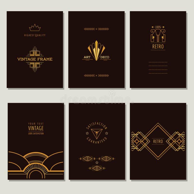 Ensemble d'Art Deco Cards et de cadres illustration libre de droits