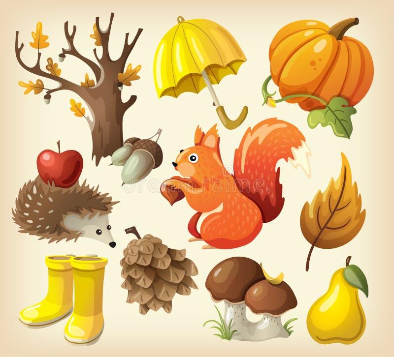 Ensemble d'articles qui représentent l'automne illustration de vecteur