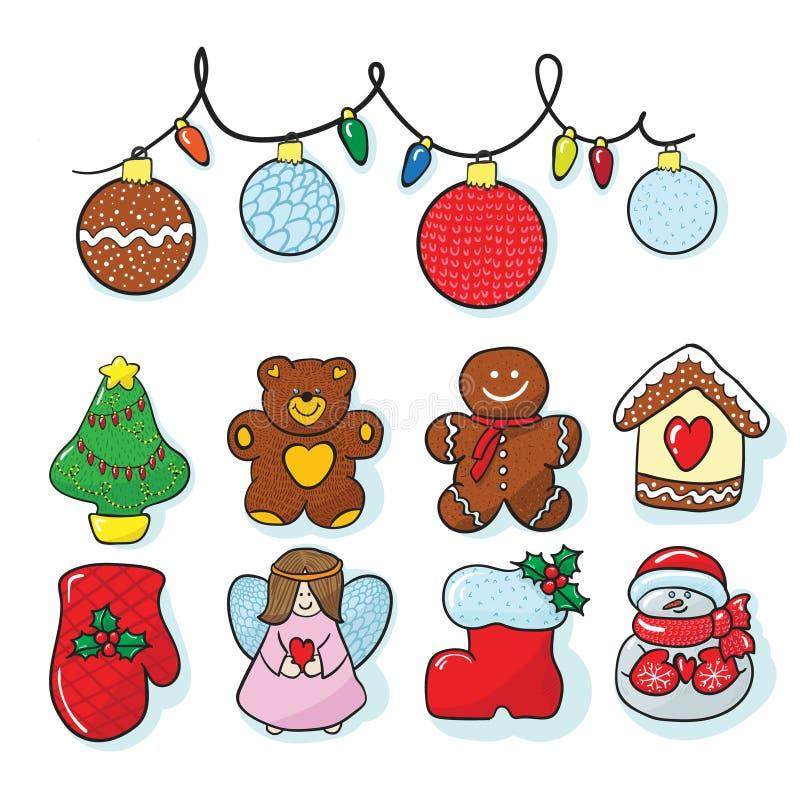 Ensemble d'aspiration de main de décoration de Noël images stock