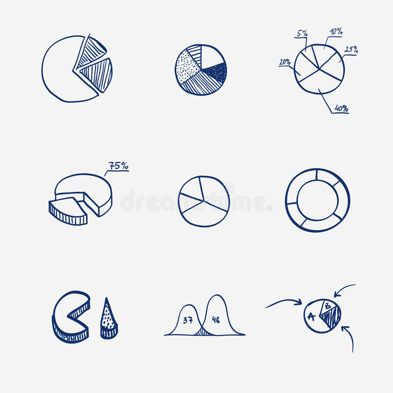 Ensemble d'aspiration de main de tarte de graphique de diagramme de diagramme de cercle illustration de vecteur