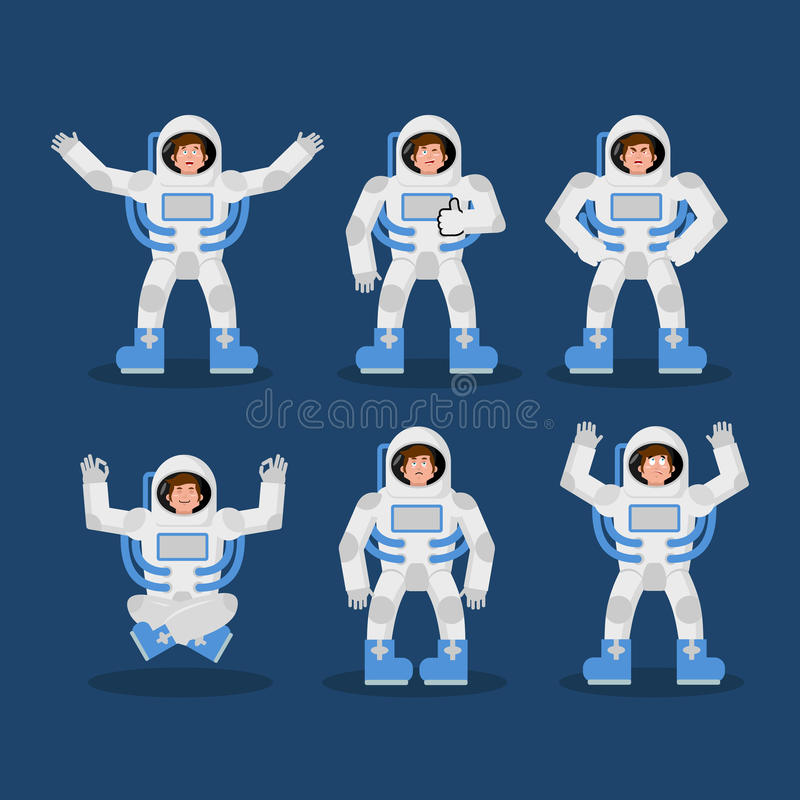 Ensemble d'astronaute de mouvements ensemble d'astronaute de poses Cosmonaute exp illustration de vecteur