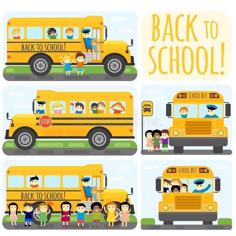 Ensemble d'autobus scolaire illustration libre de droits