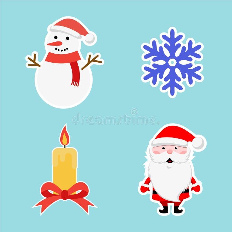 Ensemble d'autocollant de Noël Flocon de neige bleu, bonhomme de neige, Santa et bougie de nouvelle année Icône d'hiver Illustrat illustration libre de droits