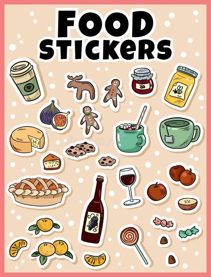 Ensemble d'autocollant de nourriture Autocollants, goupilles, corrections et collection de labels dans le style comique de bande  illustration libre de droits