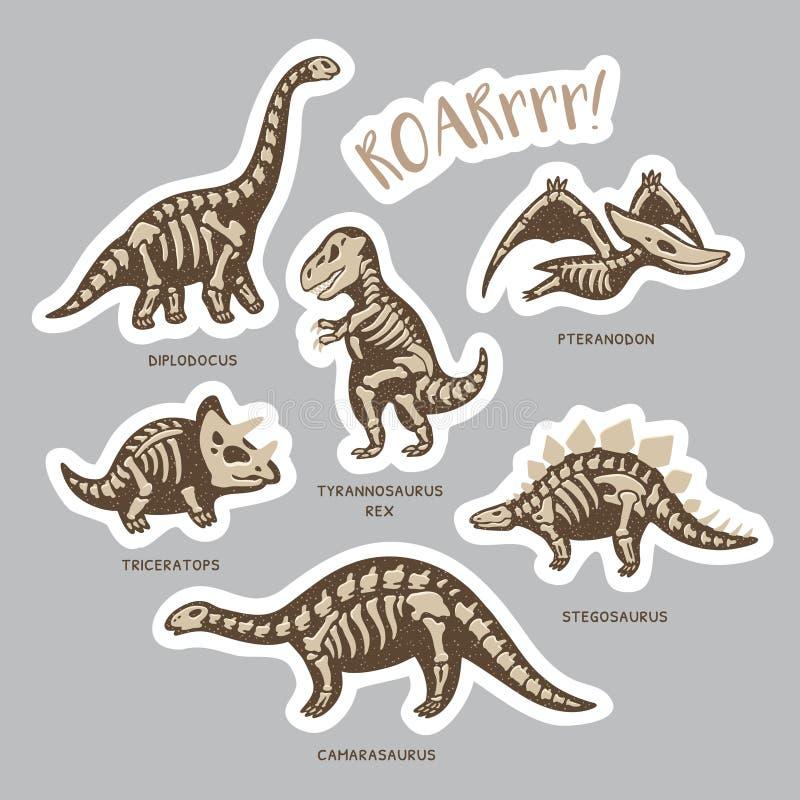 Ensemble d'autocollant de squelettes de dinosaure dans le style de bande dessinée illustration de vecteur