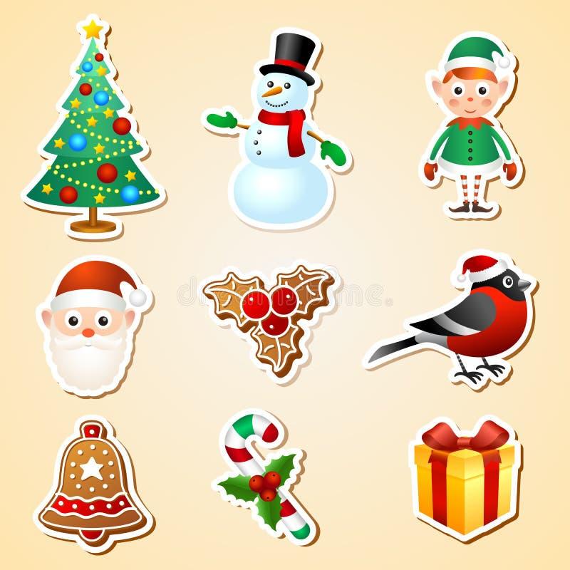 Ensemble d'autocollant de symbole de Noël illustration de vecteur