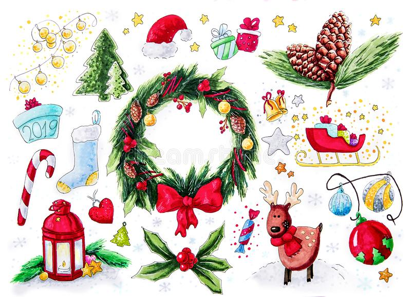 Ensemble d'autocollant de symboles de Noël d'isolement sur l'illustration blanche de drawin de main illustration libre de droits