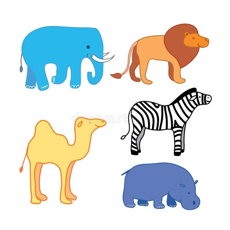 Ensemble d'autocollants animaux africains L'ensemble de safari pour étudier les noms animaux élargissent les horizons des enfants illustration libre de droits