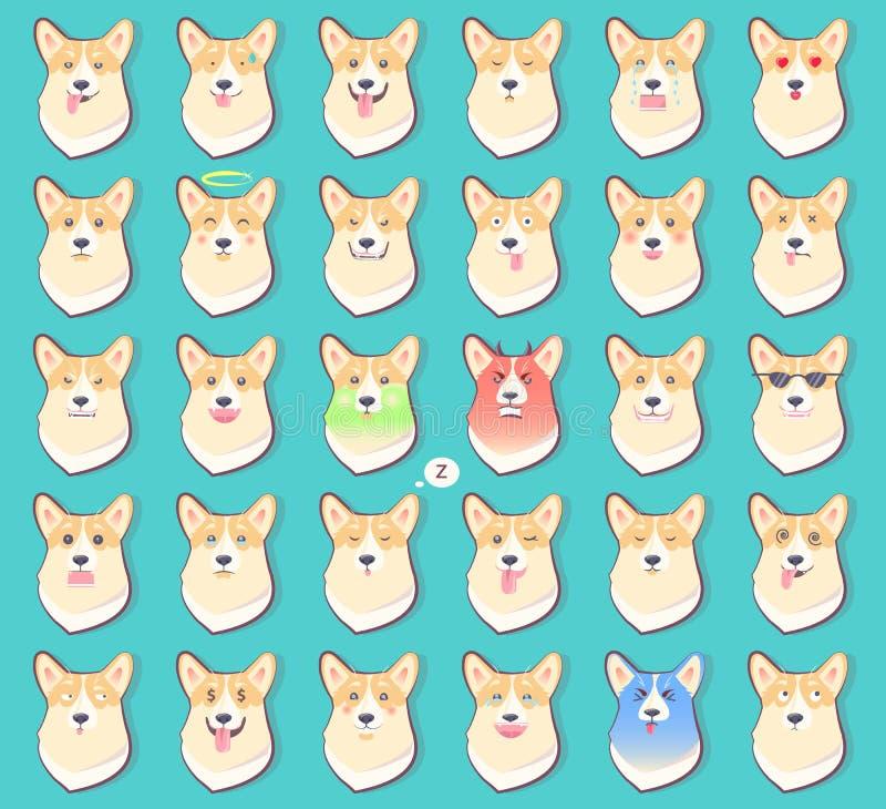 Ensemble d'autocollants avec des émotions de vecteur de chien illustration stock