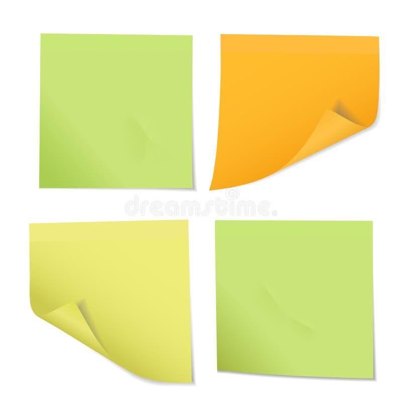 Ensemble d'autocollants colorés sur des notes de différentes trois couleurs, isolant illustration de vecteur