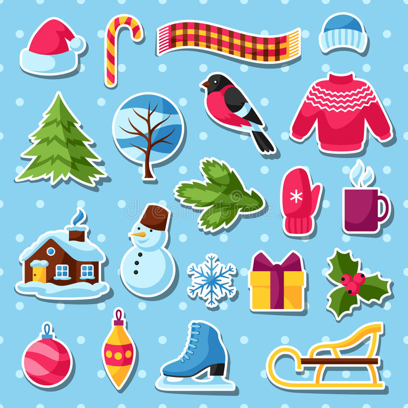 Download Ensemble D'autocollants D'hiver Articles De Vacances De Joyeux Noël, De Bonne Année Et Symboles Illustration de Vecteur - Illustration du heureux, objet: 77155017