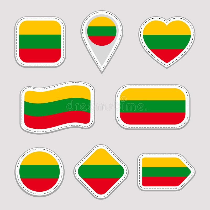 Ensemble d'autocollants de drapeau de la Lithuanie Insignes lithuaniens de symboles nationaux Icônes géométriques d'isolement Dra illustration stock