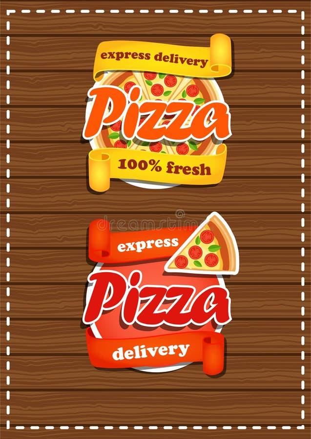 Ensemble d'autocollants de pizza avec la bannière Produit frais illustration de vecteur