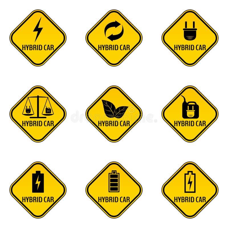 Ensemble d'autocollants de précaution de voiture hybride Sauvez les panneaux d'avertissement d'automobile d'énergie illustration de vecteur