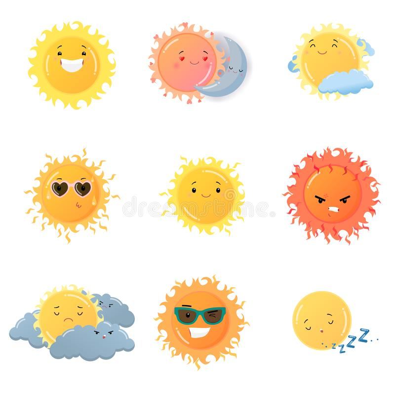 Ensemble d'autocollants d'emoji de Sun d'isolement sur le fond blanc illustration de vecteur