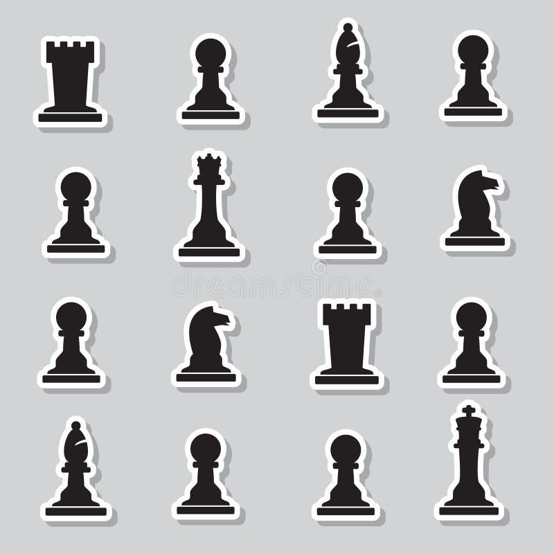 Ensemble d'autocollants noirs de pièces d'échecs illustration stock