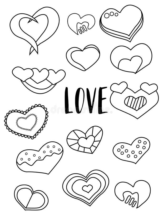 Ensemble d'autocollants noirs et blancs de coeurs Éléments de jour du ` s de Valentine Badine la page de coloration de jeu illustration de vecteur