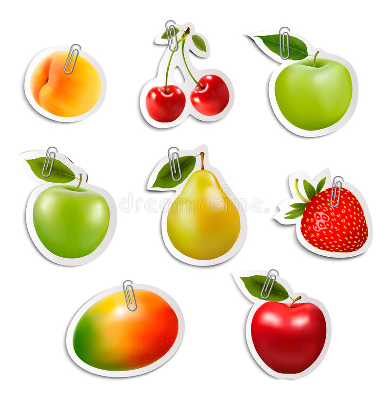 Ensemble d'autocollants plats de fruit avec les trombones illustration stock