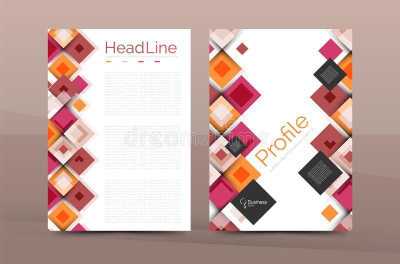 Ensemble d'avant et de pages arrières de la taille a4, calibres de conception de rapport annuel d'affaires illustration stock