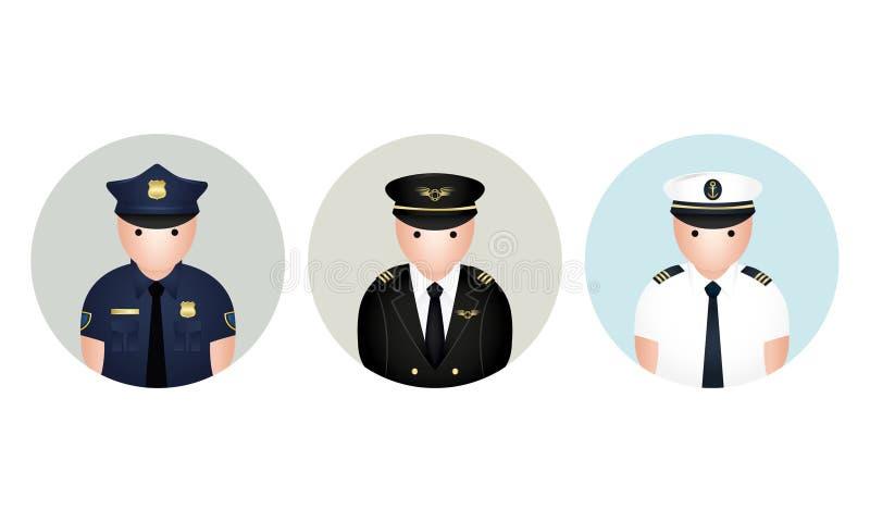 Ensemble d'avatar de policier, de Capetian, et de marin Illustration de vecteur photo stock