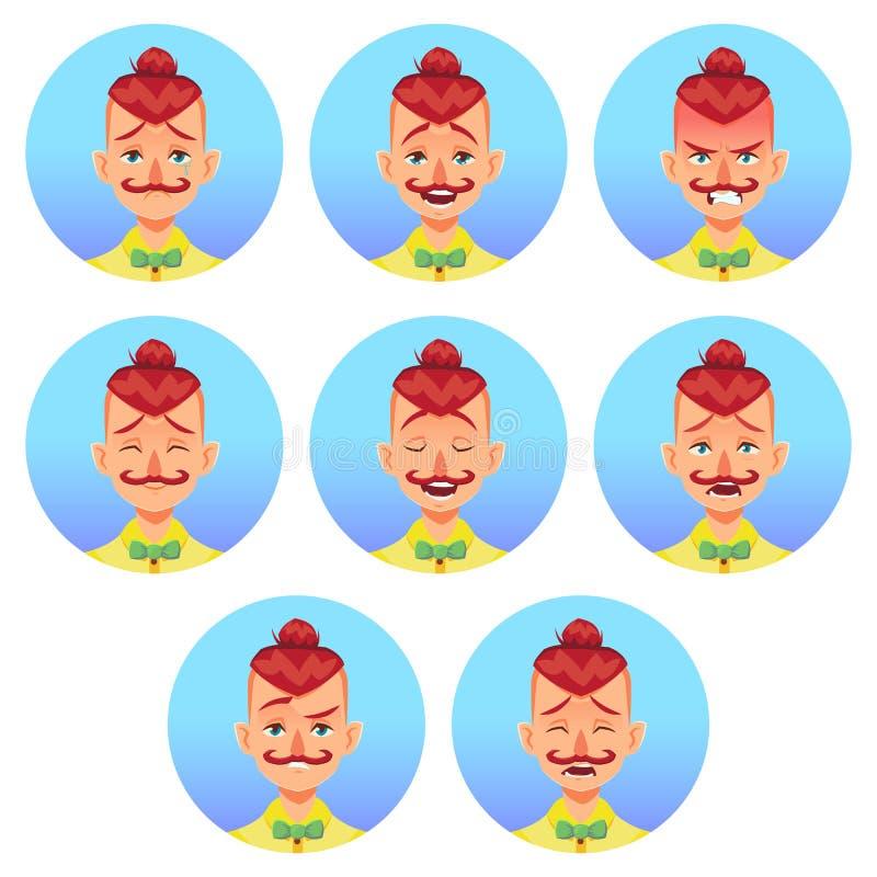 Ensemble d'avatar facial masculin d'émotions Homme de hippie avec le caractère mignon drôle d'emoji de moustache avec différentes illustration de vecteur
