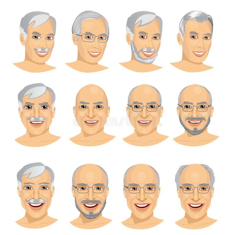 ensemble d'avatar mûr d'homme avec différentes coiffures illustration stock
