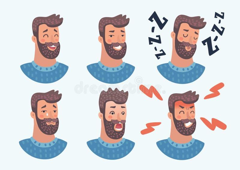 Ensemble d'avatars Caractère masculin illustration stock