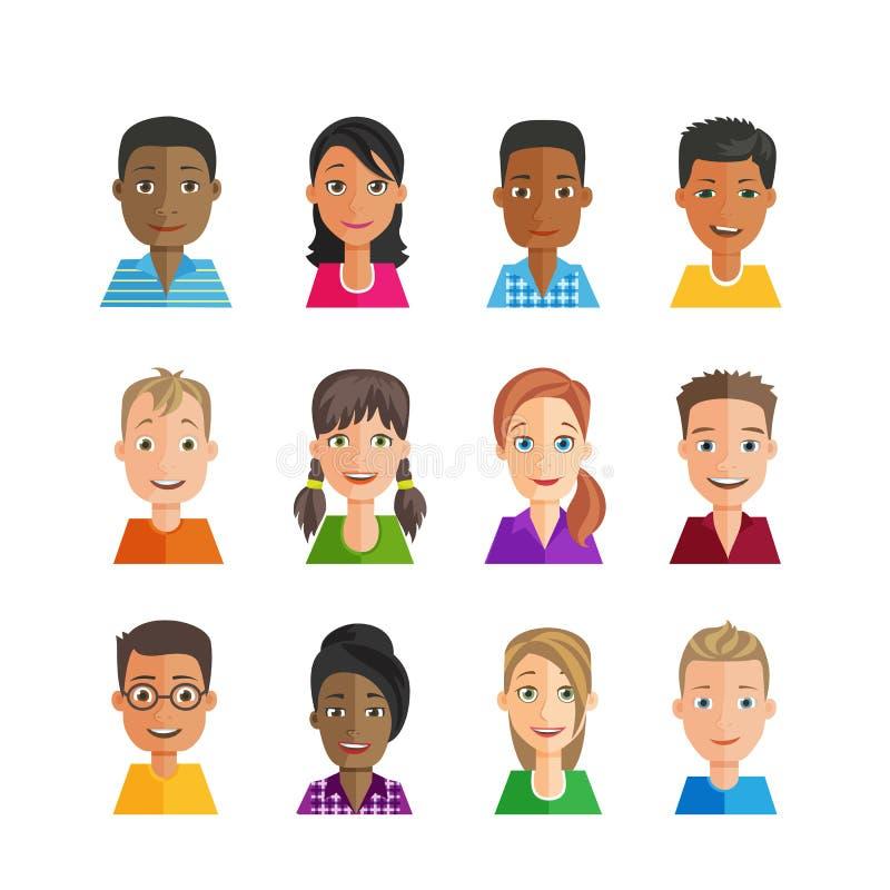 Ensemble d'avatars de vecteur Multi-ethnique illustration libre de droits