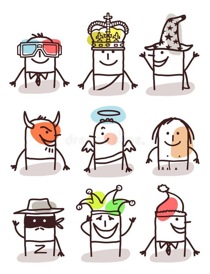 Ensemble d'avatars masculins - avec des accessoires illustration libre de droits