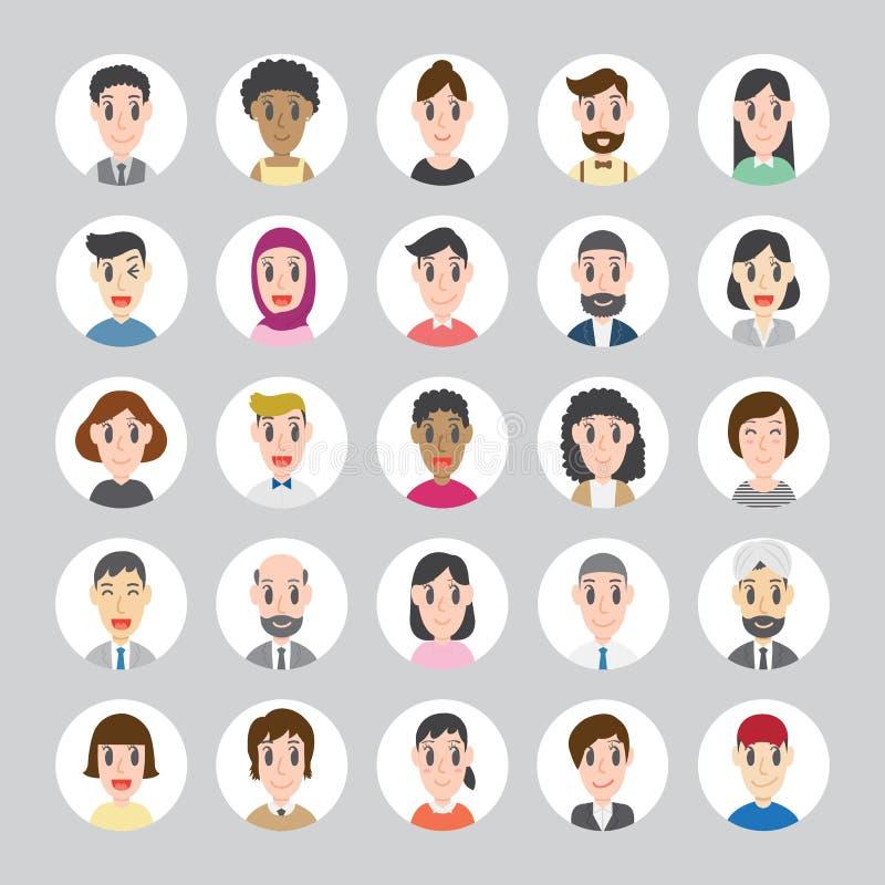 Ensemble d'avatars ronds divers Différentes nationalités, vêtements et coiffures illustration libre de droits