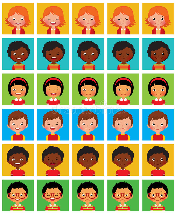 Ensemble d'avatars stylisés avec différentes émotions faciales illustration stock