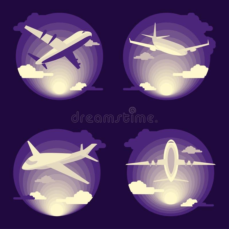 Ensemble d'avion dans la conception plate illustration de vecteur