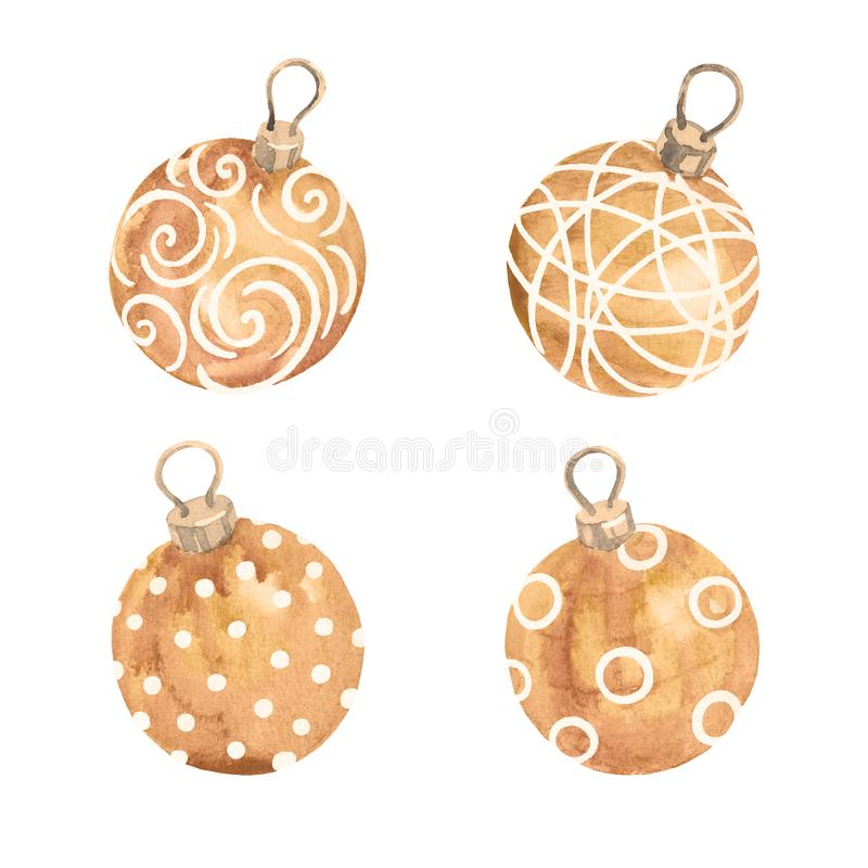 Ensemble d'or de cru de boules de Noël sur le fond blanc chris illustration libre de droits