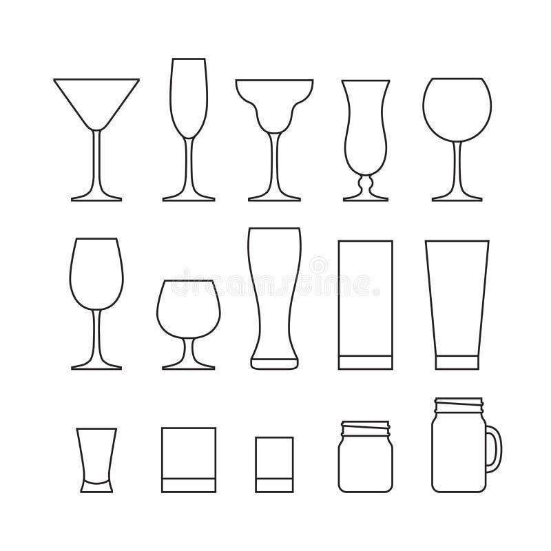 Ensemble d'ensemble de différents verres d'alcool Ligne ensemble d'icône plat illustration libre de droits