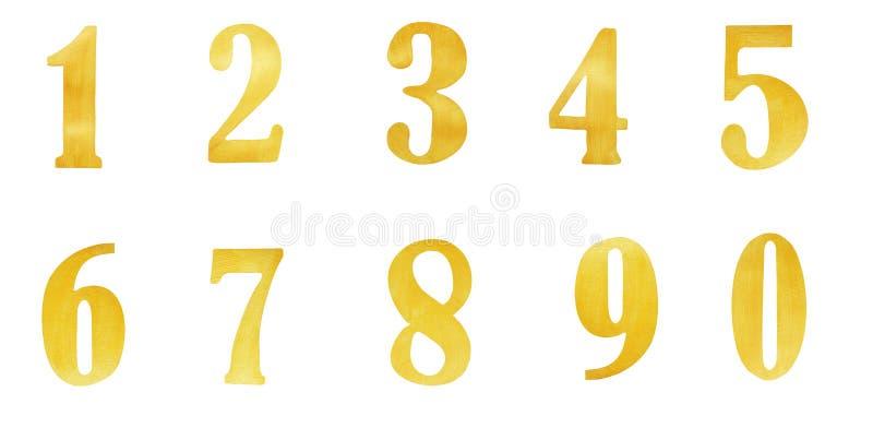 Ensemble d'or d'or de nombres d'isolement au-dessus du fond blanc Digitals images stock