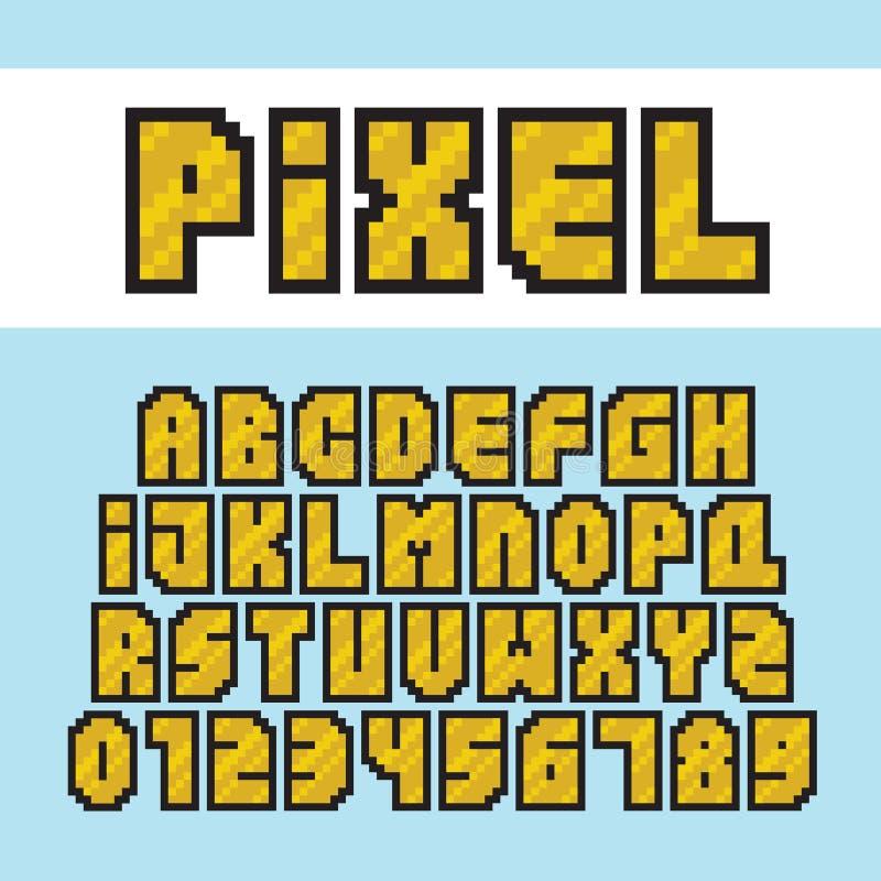 Ensemble d'or de police d'alphabet de style d'art de pixel et de vecteur de nombres illustration stock