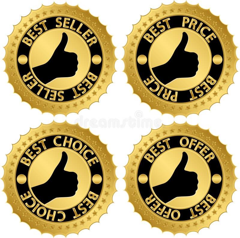 Ensemble d'or du meilleur certificat illustration stock