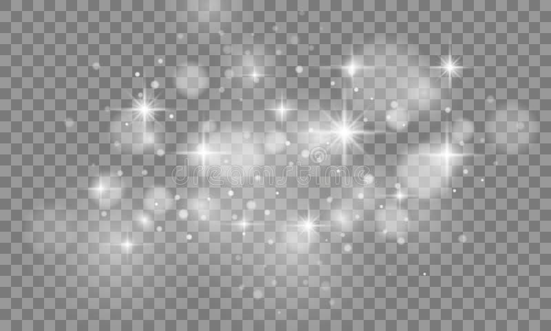 Ensemble d'effet de la lumière de lueur d'isolement sur le fond transparent Éclair de Sun avec le projecteur effet de la poussièr illustration libre de droits