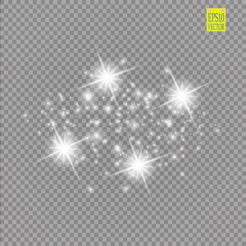 Ensemble d'effets de la lumière rougeoyants blancs d'isolement sur le fond transparent Éclair de Sun avec les rayons et le projec illustration de vecteur
