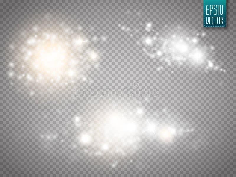 Ensemble d'effets de la lumière rougeoyants d'or d'isolement sur le fond transparent illustration libre de droits