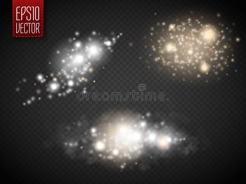 Ensemble d'effets de la lumière rougeoyants d'or sur le fond transparent illustration libre de droits