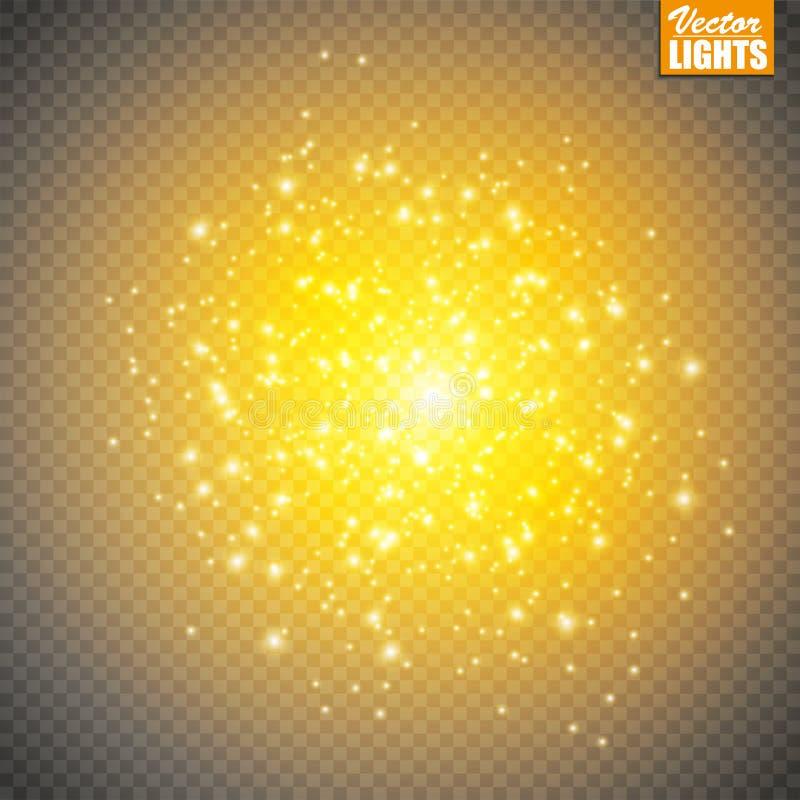 Ensemble d'effets de la lumière rougeoyants d'or d'isolement sur le fond transparent Éclair de Sun avec les rayons et le projecte illustration de vecteur