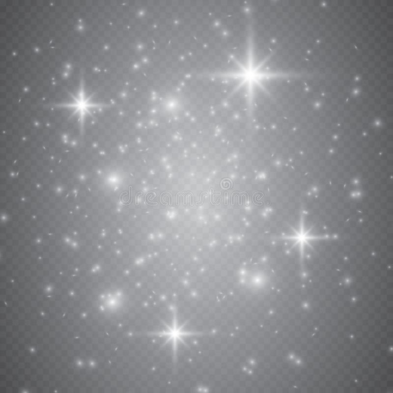 Ensemble d'effets de la lumière rougeoyants d'or d'isolement sur le fond transparent Effet de la lumière de lueur Éclat d'étoile  illustration stock
