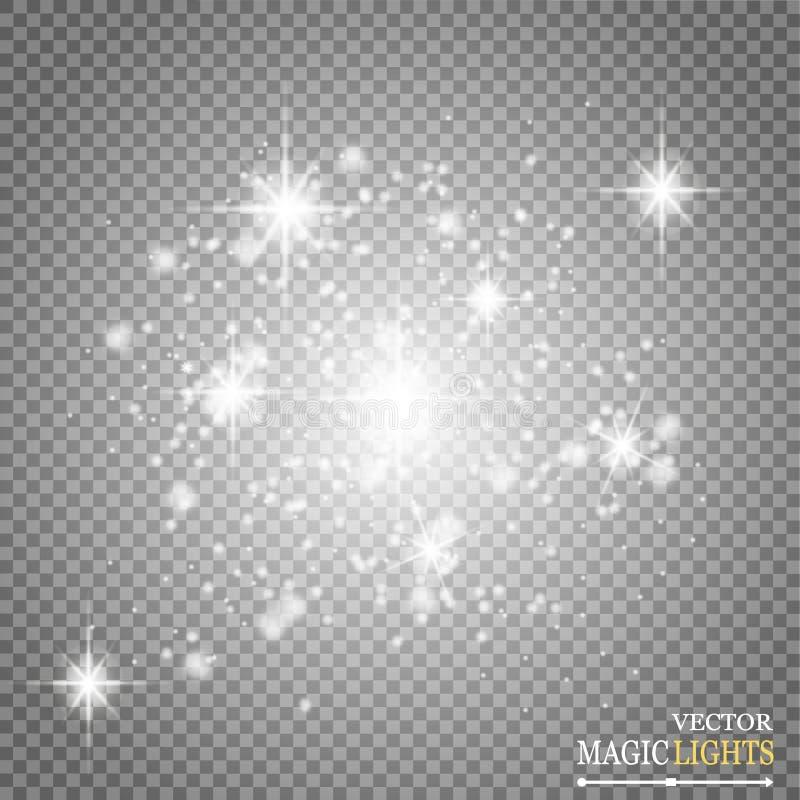 Ensemble d'effets de la lumière rougeoyants d'or sur le fond transparent Éclair de Sun avec les rayons et le projecteur Lumière d illustration de vecteur