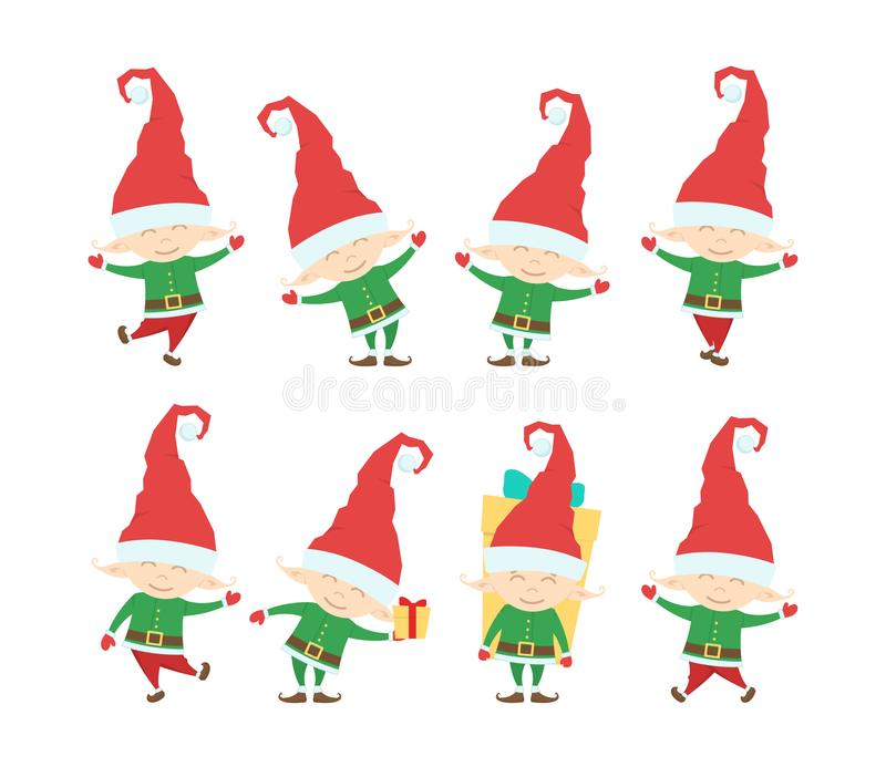 Ensemble d'elfe drôle du père noël de Noël Personnages de dessin animé d'isolement sur le fond blanc illustration libre de droits