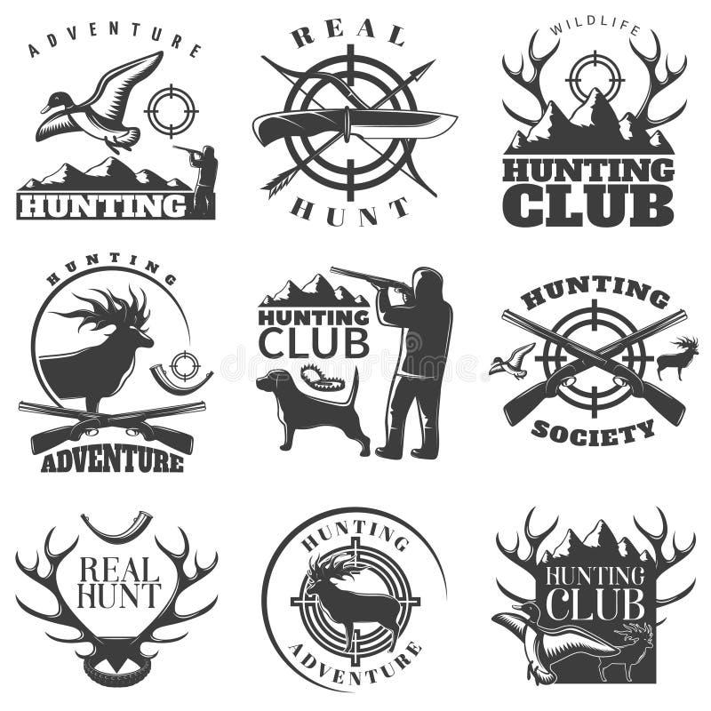 Ensemble d'emblème de chasse illustration libre de droits