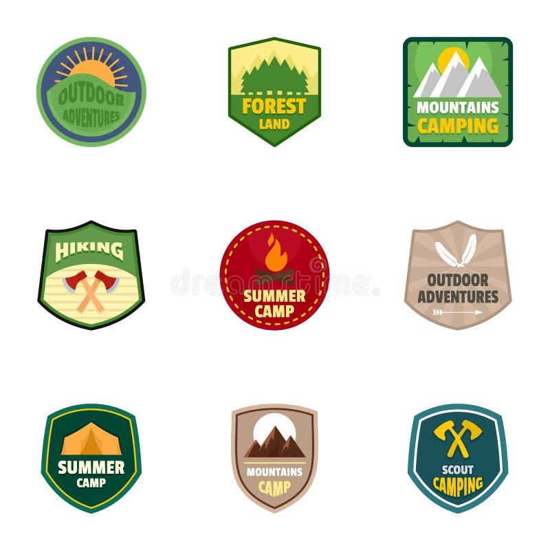 Ensemble d'emblème de logo de colonie de vacances, style plat illustration libre de droits