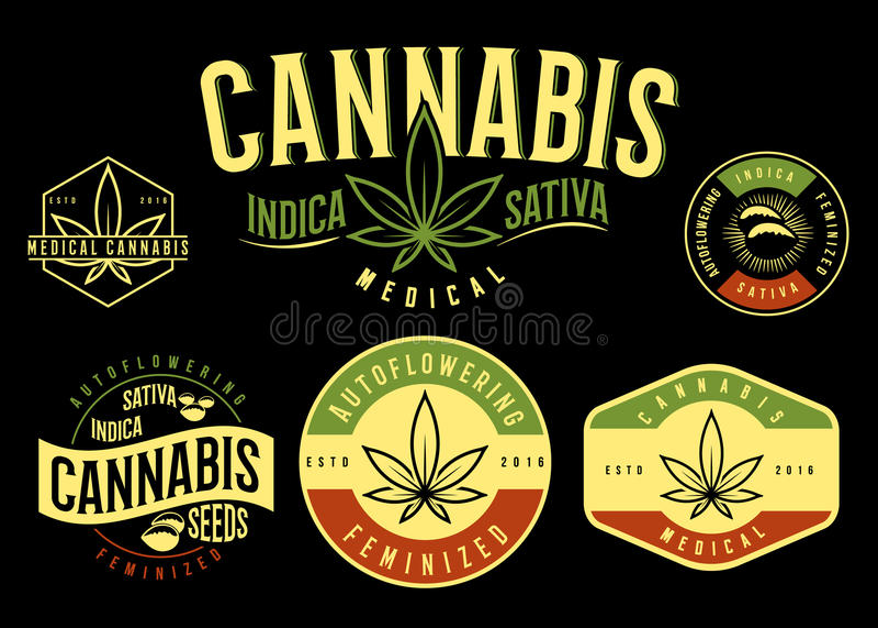 Ensemble d'emblème médical de cannabis, logo Style classique de vintage illustration de vecteur