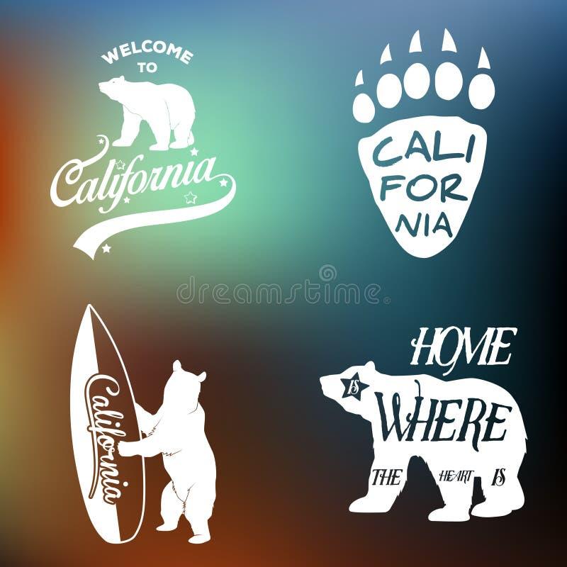 Ensemble d'emblème monochrome de la Californie de vintage illustration libre de droits